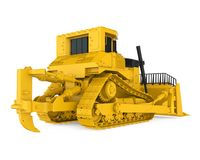 Yellow Bulldozer Isolated. On white background. 3D render Stock Images