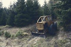 Yellow Bulldozer Near Forest Stock Photos