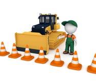 Yellow bulldozer near traffic cones Stock Photo