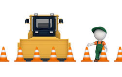 Yellow bulldozer near traffic cones Royalty Free Stock Photography