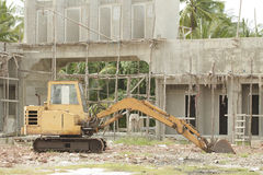 Yellow bulldozer parked on the construction site Stock Image