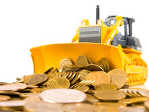 Yellow bulldozer raked pile of coins. Over white background stock images