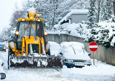 Yellow Bulldozer Snow Plowing Street Stock Photography