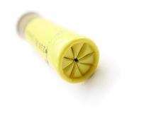 Yellow Bullet. Or gun shot with white background stock image