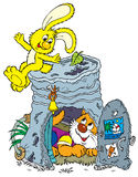 Yellow bunny and homeless kitten Royalty Free Stock Photos