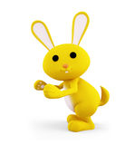 Yellow Bunny with presenting pose. 3d Bunny with presenting pose Royalty Free Stock Photos