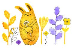 Yellow bunny, rabbit. Border. Drawing in watercolor and graphic style for the design of prints, backgrounds, cards stock illustration