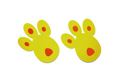 Yellow bunny tracks top view Royalty Free Stock Photo