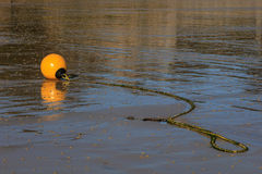 Yellow buoy and rope Stock Photography
