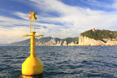Yellow buoy on sea, portovenere, la spezia, italy Royalty Free Stock Photos