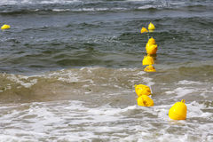 Yellow buoys on the Baltic Sea waters Stock Image