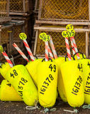 Yellow buoys Royalty Free Stock Images
