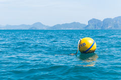 Yellow buoys, Safety ball floating. Royalty Free Stock Photo