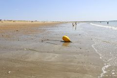 Yellow buoys stock photography
