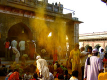 Yellow Burst. People celebrating the Khandoba festival in Jejuri The great Khandoba festival is celebrated on the Somwati Amavasya(new moon day) in this month Royalty Free Stock Photography