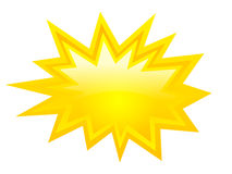 Bursting star icon. Yellow bursting vector star on white background Royalty Free Stock Image