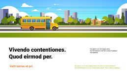 Yellow bus back to school pupils transport concept on cityscape skyscraper background flat copy space horizontal. Vector illustration Stock Illustration