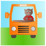 Yellow bus with cat driver on the way. Vector illustration: Cute cat driving a bus Stock Images