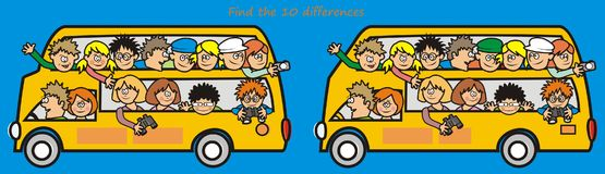 Yellow bus-find the 10 differences. A game for children and adults - Find ten differences Stock Photos