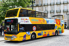 Yellow bus in Porto, Portugal Stock Photography