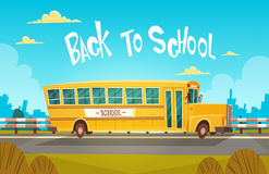 Yellow Bus Riding Back To School 1 September. Flat Vector Illustration Stock Images