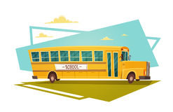 Yellow Bus Riding Back To School 1 September. Flat Vector Illustration Royalty Free Stock Photo