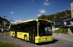 Yellow bus in St. Anton. Regio Bus Arlberg - station in Sankt Anton - Tirol Austria Stock Photos