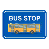Yellow bus stop  blue sign . Vector Stock Image