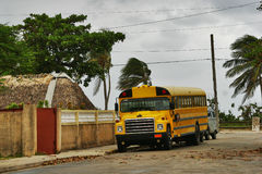 Yellow bus in Varadero Stock Photo