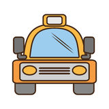 Yellow bus vehicule land transport travel Royalty Free Stock Photos