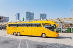Free Yellow Buse Of Regiojet Company At The Boarding Of Passengers At The Bus Station Of Bratislava Royalty Free Stock Photography - 174045787