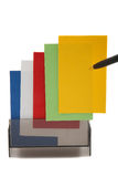Yellow Business (blank) card on a colorful stack Stock Images