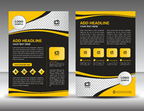 Yellow business brochure flyer design layout template in A4 size. Newsletter, leaflet,vector, cover, annual report, magazine ads, poster, catalog Royalty Free Stock Photography