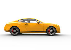 Yellow Business Car On Black Background. High Resolution Render Of A 3D car Stock Images
