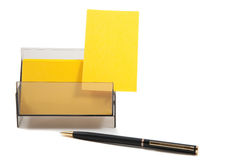 Yellow business card in a box Royalty Free Stock Image