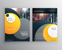 Yellow business flyer brochure design a4 template with abstract. Circle shapes Stock Photos