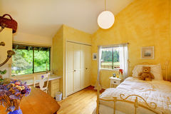 Yellow butter kids baby bedroom. Royalty Free Stock Photo