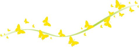 Yellow butterflies for greeting cards. Yellow butterflies with ribbon for greeting cards and other kind of cards Stock Illustration