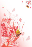 Yellow butterflies and pink flowers Royalty Free Stock Photography