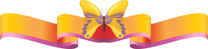 Yellow butterfly on the bright ribbon Stock Photos