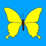 Yellow butterfly isolated on a blue background stock illustration