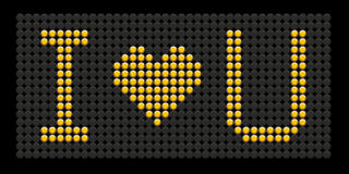 Yellow button board words i love you. Isolated on black board Royalty Free Stock Image