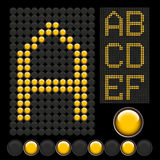 Yellow button letters. Vector yellow button letters isolated on black board Royalty Free Stock Photo