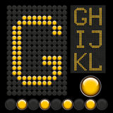 Yellow button letters. Vector yellow button letters isolated on black board Stock Photos