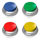 Yellow button switch on white background Stock Photos