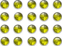 Yellow buttons. Simple yellow buttons vector illustration Stock Photography