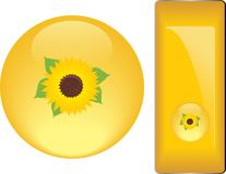 Yellow buttons with sunflower Stock Photography