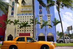 Yellow cab with Miami Beach Florida Royalty Free Stock Photo