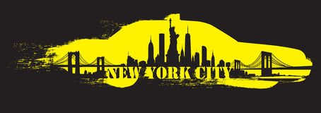 Yellow Cab New York City Skyline Vector Stock Photography