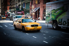 Yellow cab in New York City Stock Images
